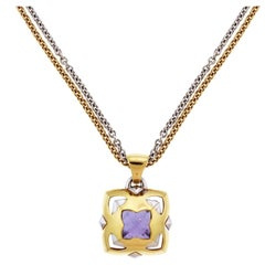 Bvlgari Pyramid Gold Amethyst Pendant with Two-Tone Gold Chain Necklace