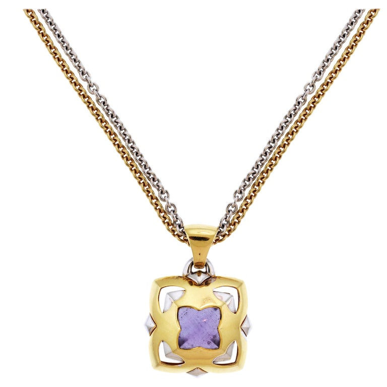 Gold Chains For Sale >> Bvlgari Pyramid Gold Amethyst Pendant With Two Tone Gold Chain Necklace