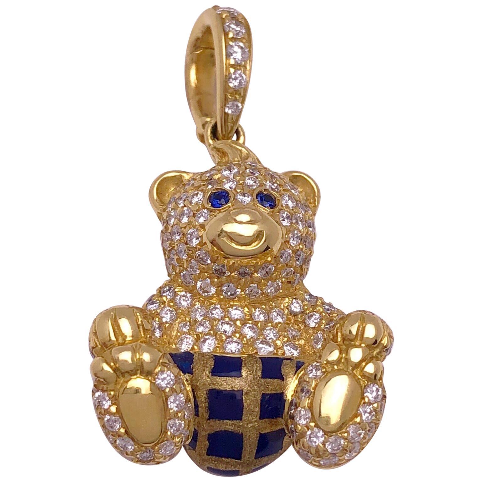 18 Karat Yellow Gold, 1.07 Carat Diamond and Enamel Teddy Bear Charm