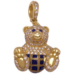 18 Karat Yellow Gold, 1.07 Carat Diamond and Enamel Teddy Bear Charm