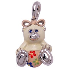 Exclusive 18 Karat White Gold and Enamel Teddy Bear Charm