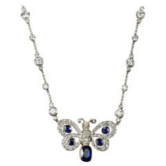 Platinum and 18 Karat Butterfly Necklace