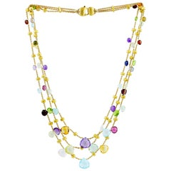 Marco Bicego Paradise 18 Carat Yellow Gold Mixed Stone Three Strand Necklace
