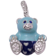 Cellini Exclusive 18 Karat White Gold, Diamond and Enamel Teddy Bear Charm