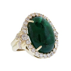Colombian Emerald Yellow Gold and Diamond Ring