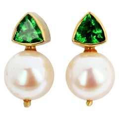 Gemjunky Glittering Intense Green Tsavorite Garnet & White Pearl Gold Earrings