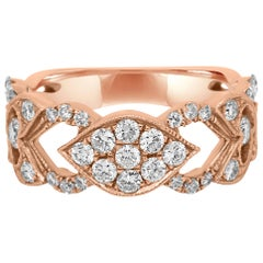 Round White Diamond Rose Gold Band Cocktail Fashion Ring