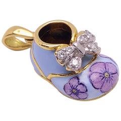 18 Karat Yellow Gold, .12 Carat Diamond and Enamel Baby Shoe Charm