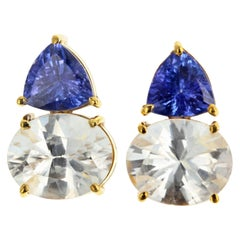 Gemjunky Glittering Tanzanite and White Zircon 18 KT Gold Stud Earrings