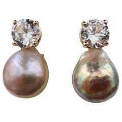 Michael Kneebone Pink Kasumi Pearl White Sapphire Drop Earrings