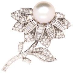 Pearl Diamond Platinum Sunflower Brooch