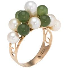Vintage Jade Cultured Pearl Ring 14 Karat Yellow Gold Estate Fine Jewelry