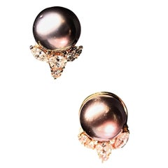 Black Tahitian and Diamond Earrings by Henry Dunay