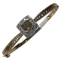 Engraved 14 Karat White and Yellow Gold Bangle Bracelet with Diamonds