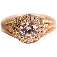 Engagement Ring with an Open Weave Design, Beading and Diamonds