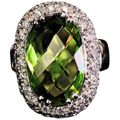 Peridot 14.40 Carats and Diamond Ring by Sal Praschnik