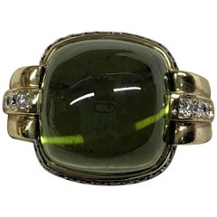Peridot Right Hand Ring with White and Brown Diamonds by Frederic Sage