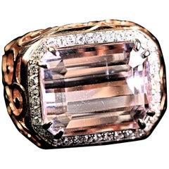Kunzite Cocktail  Diamond Ring 18 Karat Rose Gold