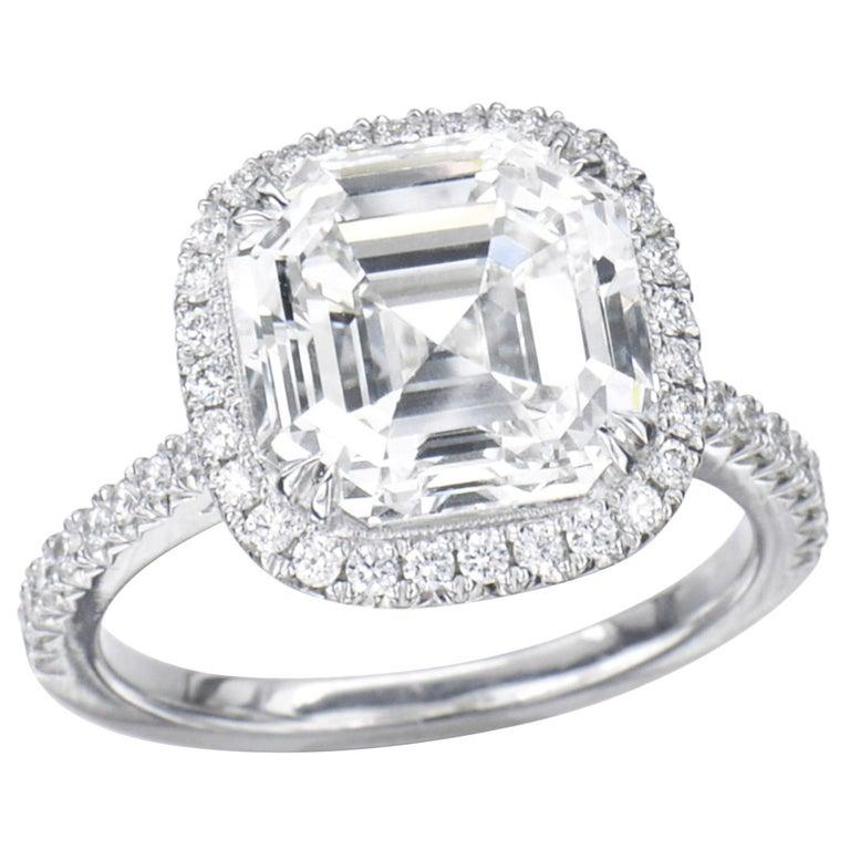 1 Carat Asscher Cut GIA Diamond Engagement Ring 950 Platinum Setting For Sale
