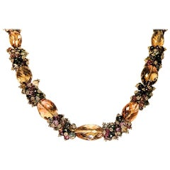 Citrine Tourmaline Multicolored Semiprecious Stone Necklace by Marya Dabrowski