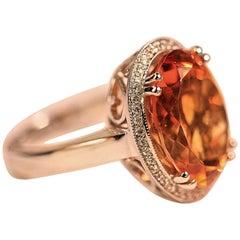 Dark Orange Citrine and Diamond Ring