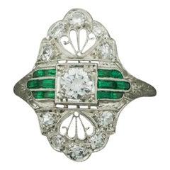 Art Deco 1930s Platinum Diamond Ring with Green Stones .55 Carat