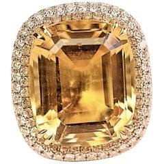 Golden Beryl, 18 Karat White Gold and Diamond Cocktail Ring