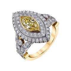 Custom Handmade Platinum Fancy Yellow Diamond Ring