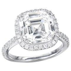 1.50 Carat Asscher Cut GIA Diamond Engagement Ring 950 Platinum Setting
