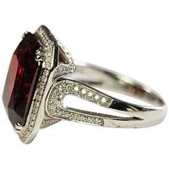 Spessartite Garnet, 18 Karat White Gold and Diamond One of a Kind Cocktail Ring