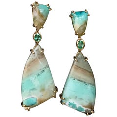 Joon Han Indonesian Opalized Petrified Wood Emerald 18K Gold Drop Earrings