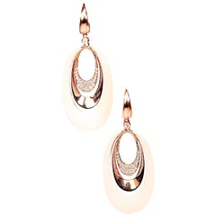 Agate and Diamond Rose Gold Dangle Earrings