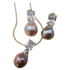 Michael Kneebone Pink Kasumi Pearl White Sapphire Drop Earring Pendant Suite