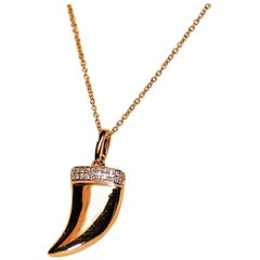 Diamond and 14 Karat Tooth Horn Design Pendant