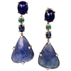 Joon Han Tanzanite Emerald Sapphire Diamond 18K Rose Gold Drop Dangle Earrings
