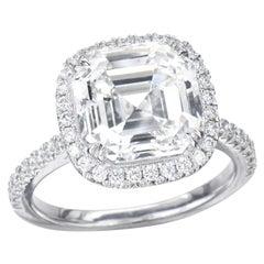 2.00 Carat Asscher Cut GIA Diamond Engagement Ring 950 Platinum Setting