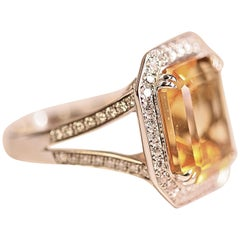 Step Cut Citrine and Diamond White Gold Cocktail Ring