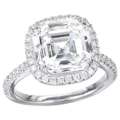 3.00 Carat Asscher Cut GIA Diamond Engagement Ring 950 Platinum Setting