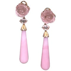 Joon Han Pink Opal Rose Quartz Pink Tourmaline Diamond 18K Gold Drop Earrings