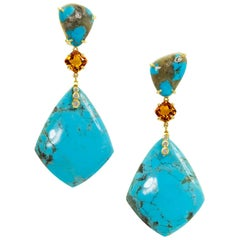 Joon Han Kingman Turquoise Golden Citrine Diamond 18K Gold Drop Dangle Earrings