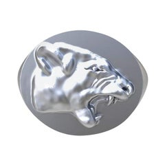 Sterling Growler Lion Signet Ring