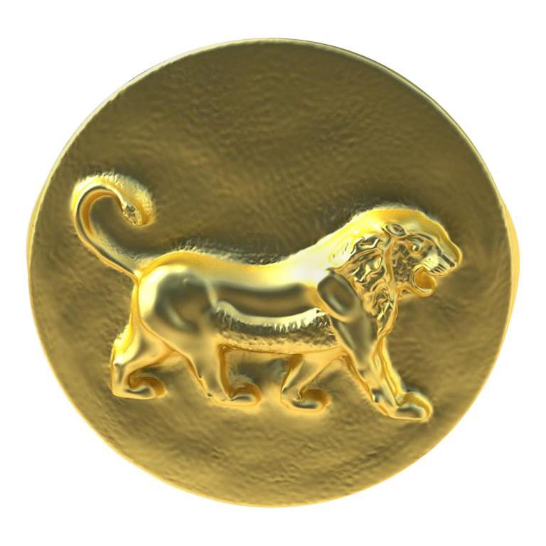 14 Karat Yellow Gold Persepolis Lion Signet Ring For Sale