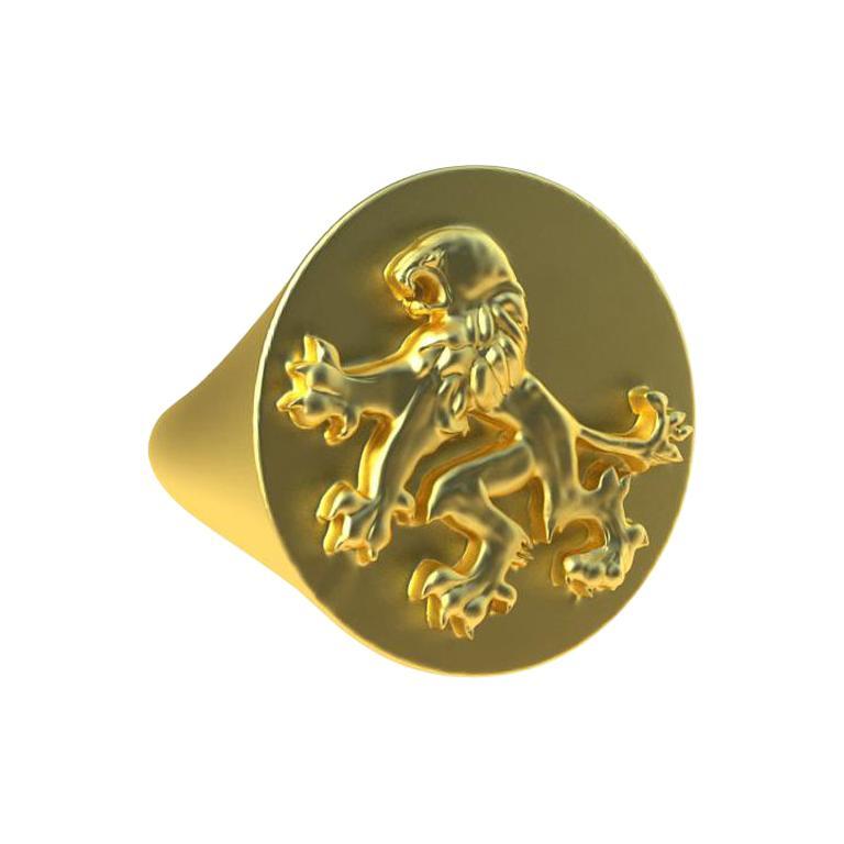 14 Karat Yellow Gold Rampant Lion Signet Ring For Sale