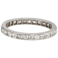 Antique Deco Carre Diamond Eternity Ring Platinum Vintage Fine Jewelry