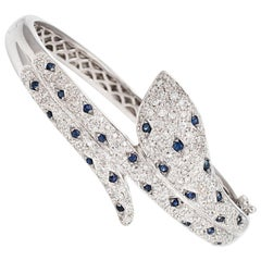 Vintage Snake Bracelet Diamond Sapphire 18 Karat Gold Bangle Estate Jewelry