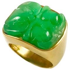 Carved Green Jade 14 Karat Gold Wide Band Ring