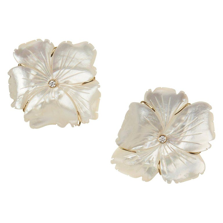18 Carat Yellow Gold, Diamond and Hand Carved Mother of Pearl Flower Earrings For Sale