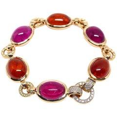 Fine Rubelite + Mandarin Garnet and Diamond 18 Karat Red Gold Bracelet