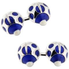 Jona Sterling Silver Blue Enamel Ladybug Cufflinks