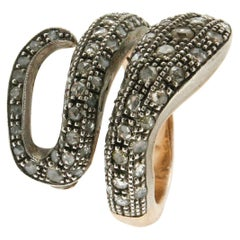 Diamonds 14 Karat Yellow Gold and Silver Snake Cocktail Ring